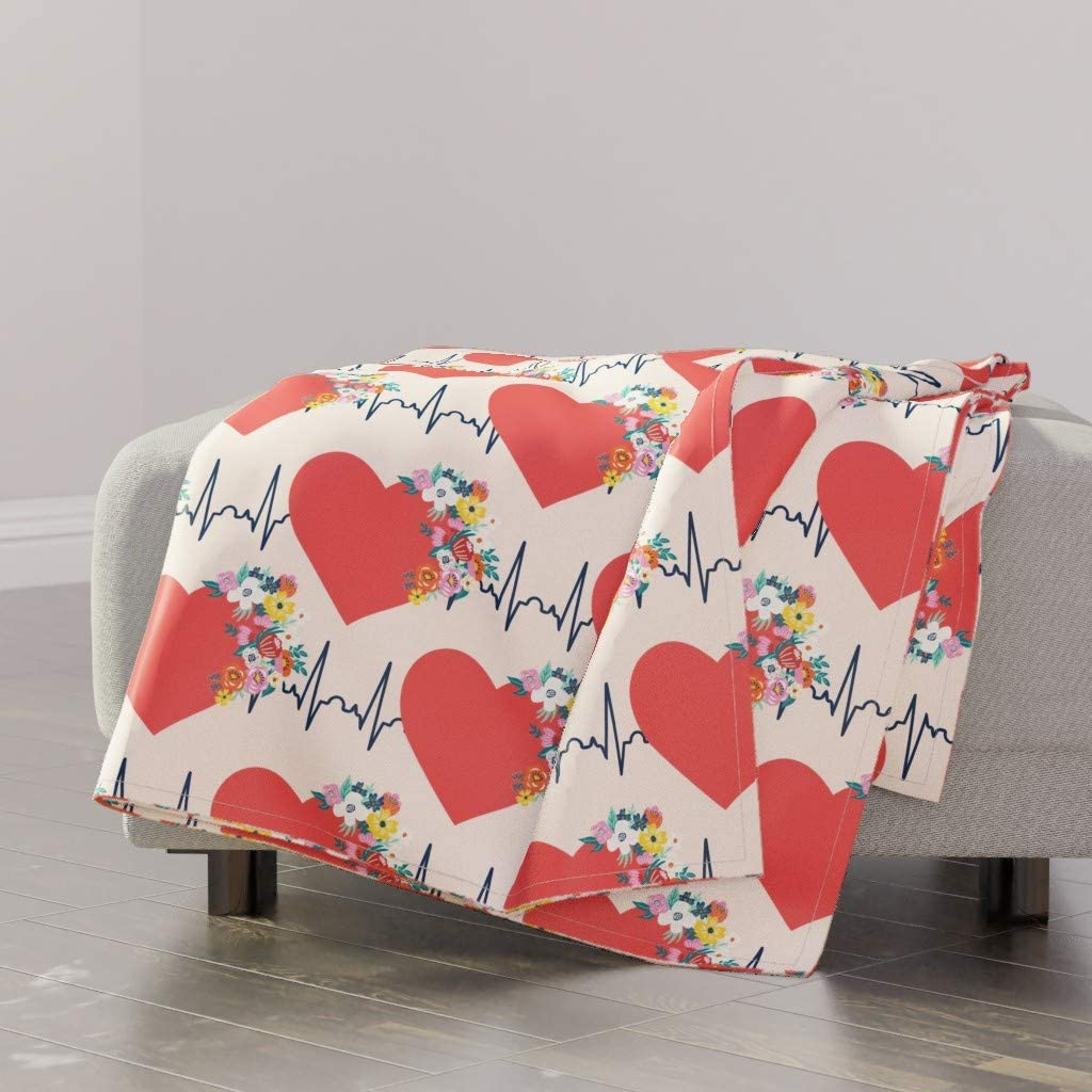 Spoonflower Throw Blanket Same day shipping Medical Selling rankings Pink Love Red D Flowers Heart