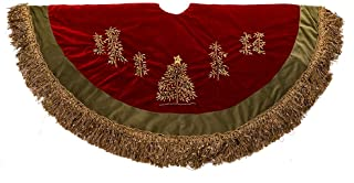Kurt Adler 50-Inch Burgundy Ribbon Trees Tree Skirt with Green Tassel Border