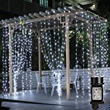 LE Lighting EVER Rideau LED Lumineux 3m*3m Étanche IP44, Blanc Froid 8 Modes, Guirlande Lumineuse pour Mariage, Noël, Chambre, Salon, Fenêtre, Jardin, Terrasse, Pergola, etc.