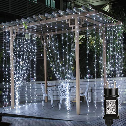 LE 3x3m 306 LED Cortina de Luces LED Blanco Frío, Resistente al...
