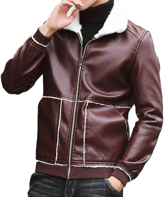 d78fa98cb X-Future Mens Winter Faux-Leather Faux-Leather Faux-Leather Fleece Thick Warm  Sherpa Zip Jackets 3fdf9c