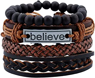 Mixed Wrap Leather Wristbands Bracelets and Wood Beads Weave Bracelet Set for Men Women Adjustable 4 Pieces Beads Braided ...