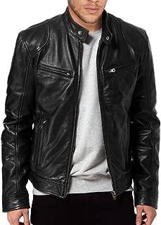 The Leather Factory Men's Sword Black Genuine Lambskin Leather Biker Jacket