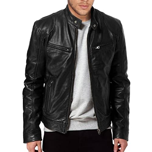 Genuine Leather Biker Jacket For Mens Grey Fitted Zipped Casual Coat