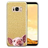 FINCIBO Case Compatible with Samsung Galaxy S8+ Plus G955 6.2 inch, Shiny Sparkling Gold Bling Glitter TPU Protector Cover Case for Galaxy S8+ Plus (NOT FIT S8) - Baby Pig