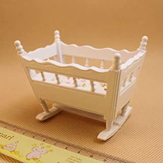 Foreen 1/12 Miniature Wooden Crib Baby Cradle Model Doll House Accessory Pretend Play Kids Toy