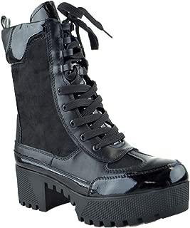 Powerful 06S Womens Chunky Heel Platform Lug Sole Military Combat Boots