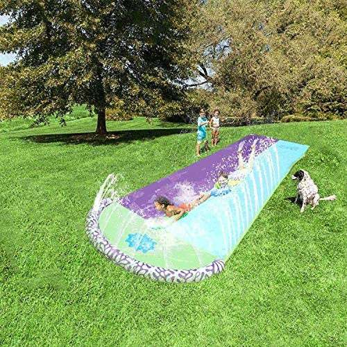 FDYD 15Ft Lawn Water Slide Inflatable, Double Lawn Water Slide Slip N And Slides Surf Racer Water Sports Backyard Water Slide for Kids Childs