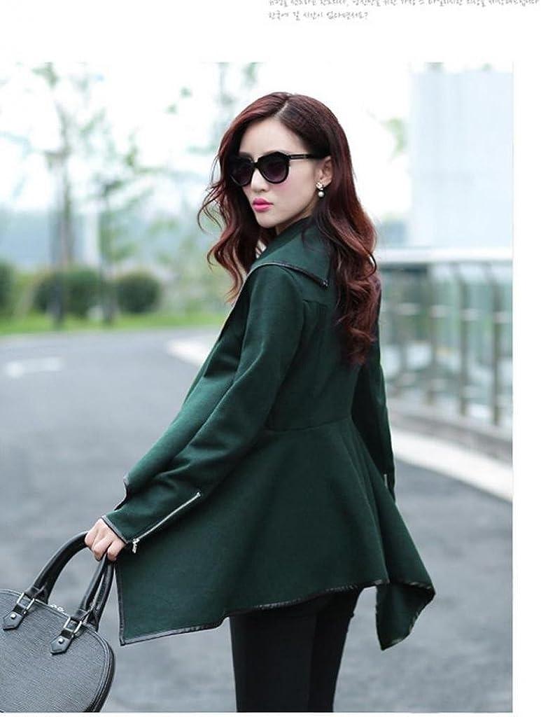 Minetom Fashion Damen Unregelmäßig Slim Warm Lang Mantel Jacke Trench Windschutz Parka Oliv