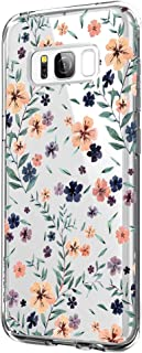 Case Compatible with Samsung Galaxy S8 Case Clear Soft TPU Silicone Shockproof Protection for Samsung S8 - Flower Design (9, S8)