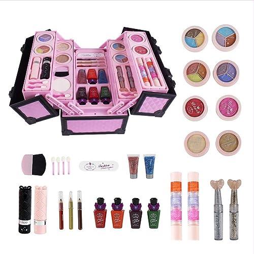 HEIRAO Kit de Maquillage cosmétique 23 pièces avec étui, Outils de Maquillage réels pour Petite Fille, Jouet cosmétique pour Enfants, Cadeau d'anniversaire