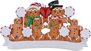 MAXORA Personalized Christmas Ornament Gingerbread Family of 6