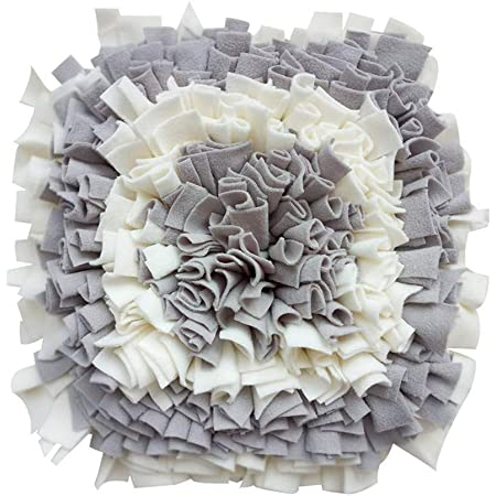 LIVEKEY Pet Snuffle Mat for Dogs, Dog Feeding Mat, Nosework Training Mats for Foraging Instinct Interactive Puzzle Toys (Gray&White)