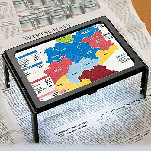 Lupa de página completa, 3 unidades, tamaño grande, tamaño A4, manos libres, 3 lupas, con 4 luces LED, lámpara de escritorio, lupa de lectura plegable rectangular de página completa