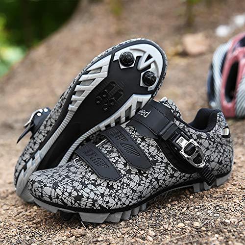 CHD Lock Schuhe Radfahren leuchtende Fahrrad Power Schuhe für Männer und Frauen hartbesohlte Mountainbike Turnschuhe PU Nylon Sohle Schnalle Klettverschluss,Grau,42