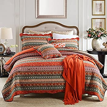 NEWLAKE Striped Classical Cotton 3-Piece Patchwork Bedspread Quilt Sets Queen Size