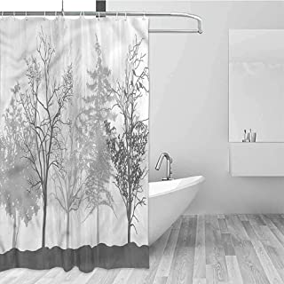 Gloria Johnson Nature Extra Long Shower Curtain Bare Trees Silhouette Woods Tropical Shower Curtain W62 x L72 Inch