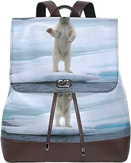 PU Leather Shoulder Bag,Waving Polar Bear Arctic Greeting Backpack,Portable Travel School Rucksack,Satchel with Top Handle