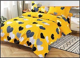Bettwäsche Set 4tlg Grafik 135x200cm155x220cm Gelb Grau Mako-Satin Baumwolle