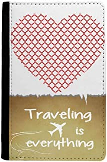 Circles Heart Valentine's Day Red Traveling quato Passport Holder Travel Wallet Cover Case Card Purse