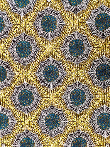 Roya - Tela de algodón con estampado textil, 5,5 m de largo x 1,2 m de ancho, tela Ankara para hacer y coser telas
