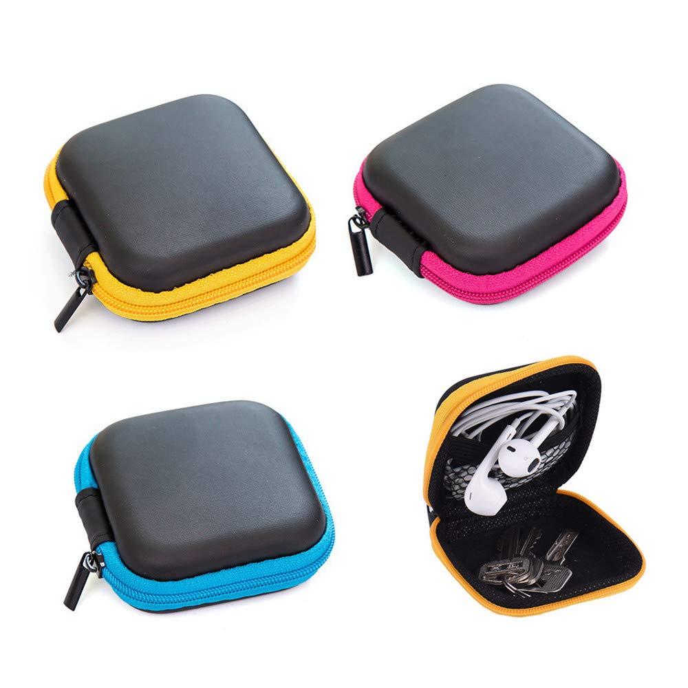 Paquete de 3 Estuches portátiles de Goma EVA para Auriculares, Mini Bolsas de Almacenamiento pequeñas, Bolsillo Interior de Malla, Cierre de Cremallera, Exterior Duradero: Amazon.es: Electrónica