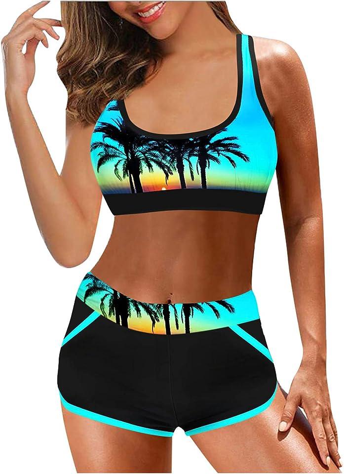 Bikini Damen Set Push Up, Damen Bikini Set Trägern Hinten Gestreifte Bademode Wende-Slip Zweiteiliger Badeanzug Damen Bikini Set High Waist Bademode Blumenmuster Zweiteiliger