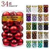 """KI Store 34ct Christmas Ball Ornaments Shatterproof Christmas Decorations Tree Balls for Holiday Wedding Party Decoration, Tree Ornaments Hooks Included 2.36"""" (60mm Red)"""