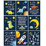 KAIRNE imágenes para habitación infantil para niños y niñas, imágenes espaciales, póster de astronauta de dinosaurios,letras del alfabeto para aulas, habitación de bebé, sin marco, 20 × 25 cm