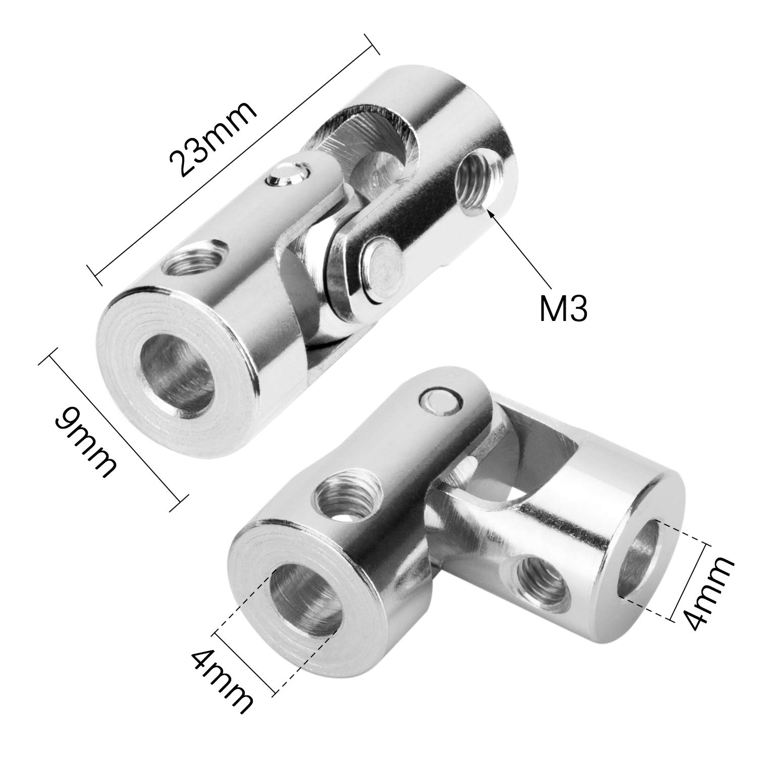 Aexit 4mm to Electrical equipment 4mm Inner Dia Rotatable Universal Steering Shaft U Joint Coupler