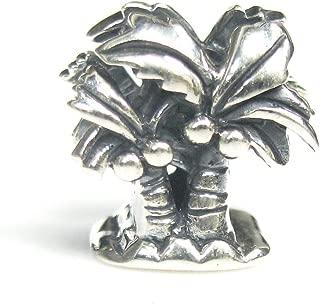 925 Sterling Silver Hawaii Beach Vocation Coconut Palm Tree Bead for European Charm Bracelets