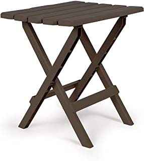 Camco 21048 Mocha Large Adirondack Portable Outdoor Folding Side Table, Perfect for The Beach, Camping, Picnics, Cookouts and More, Weatherproof and Rust Resistant