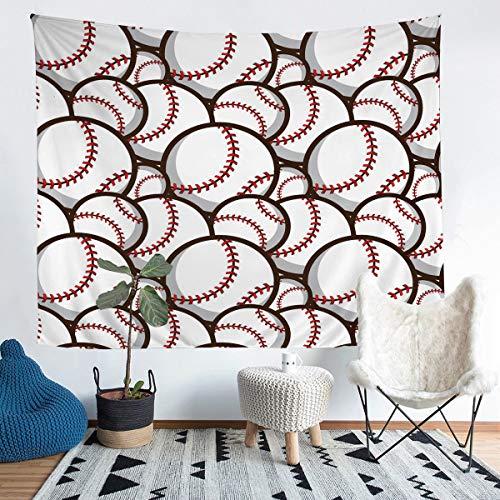 Loussiesd - Tapiz de béisbol para niños y niños, diseño de bola blanca 3D para colgar en la pared, decoración de la habitación, juegos de béisbol, arte de pared, tamaño medio de 51 x 59 cm