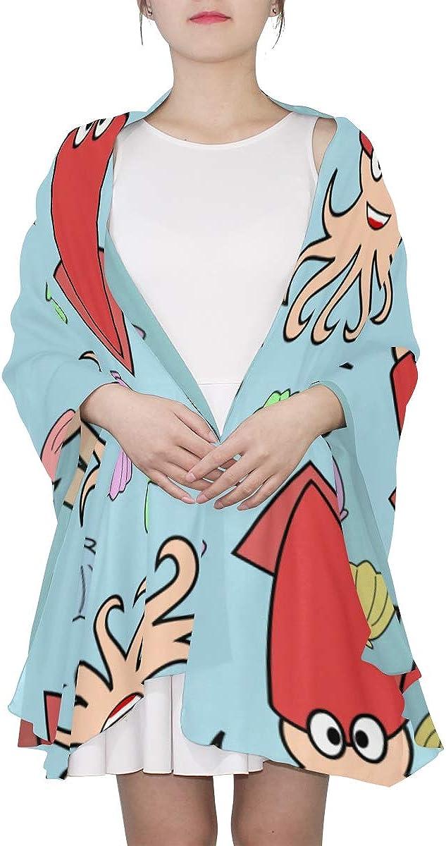 Scarf Set For Girls Cartoon Cute Creative Sea Food Squid Child Scarf Oversized Lightweight Scarf Lightweight Print Scarves Fashion Lightweight Scarf Shawls Wrap