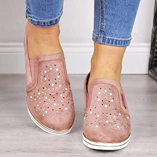 Casual Shoes for Ladies Slip on Flats Platform Sneakers Slip on Flats Comfortable Flats Shoes Rhinestones Classic Fashion Casual Shoes Footwear Female Oxford Shoes,Pink,35