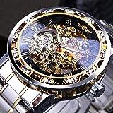 xiaoxioaguo Reloj de esqueleto mecánico para hombre con movimiento luminoso, diseño real
