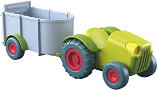 HABA Little Friends Tractor and Trailer - 2 Piece Free-Wheeling Farm Play Set with Movable Hatch