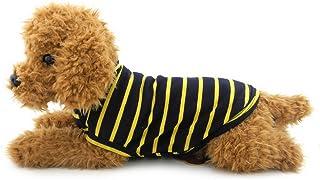 ranphy pequeño perro/gato camiseta ropa chaleco de algodón negro camisetas de rayas de perro