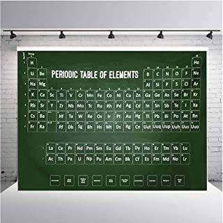 Periodic Table Photography Background Cloth Chemistry Science Inspirational Elements Educational Art for Class for Photography,Video and Televison 12ftx8ft Dark Green and White