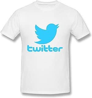 RSHSJCZZY Short Sleeve T-Shirt Mens Twitter Bird Generic T-Shirt Short-Sleeve Crew Neck White Tee