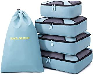 Belsmi 5 Set Packing Cubes - Waterproof Travel Luggage Organizer with Laundry Bag (Sky Blue)