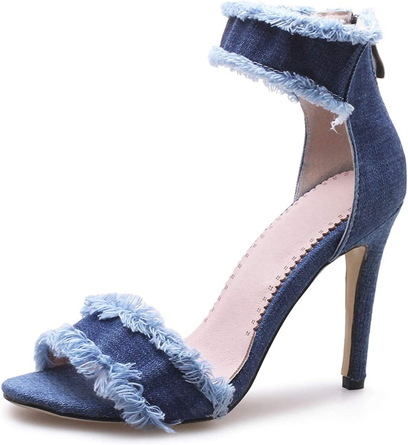 Small Basketball Sexy Fringe Women Sandals Fashion Denim shoes Ankle Strap Thin High Heels Round Toe Women Sandals