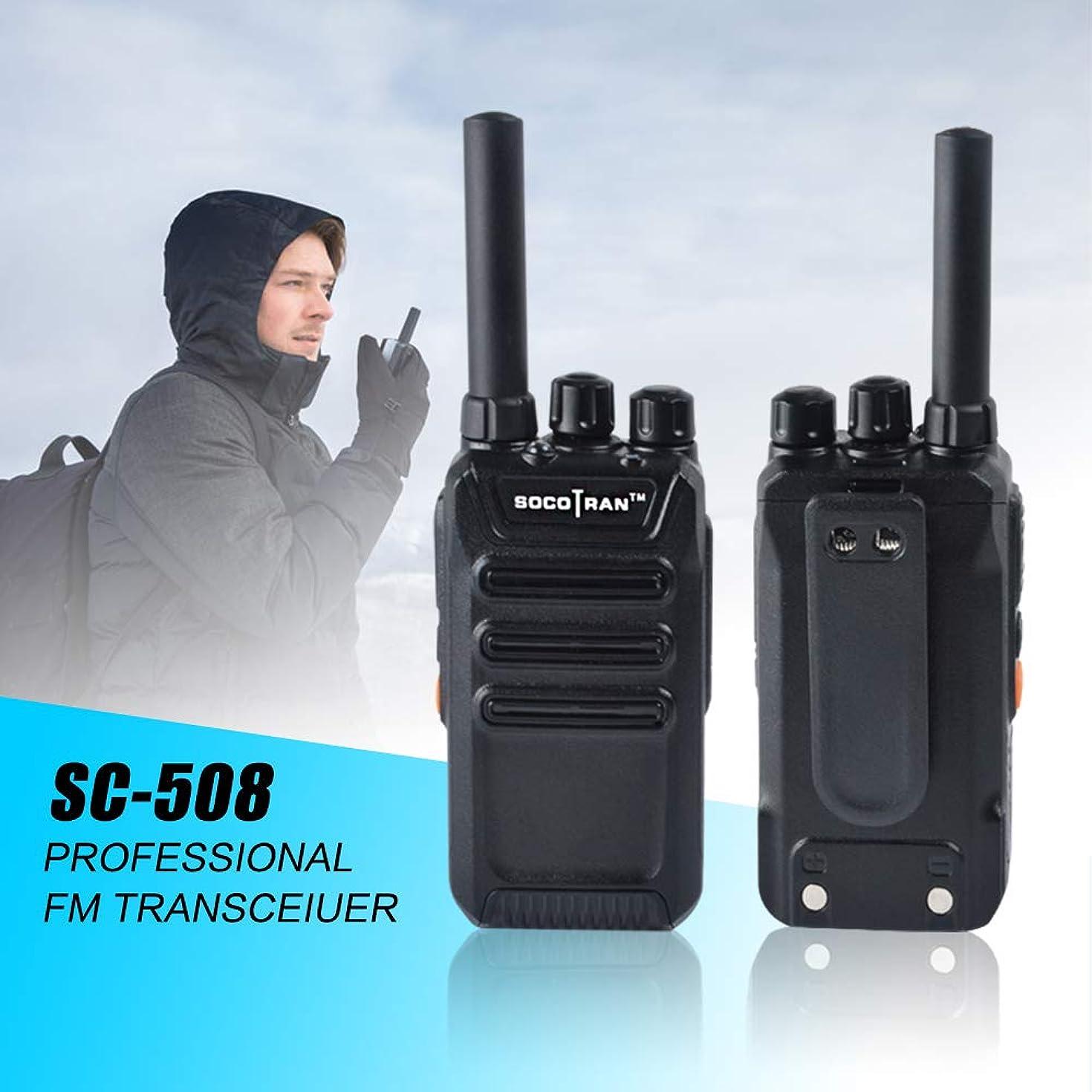 Ham Radio Portable Two-Way Radio UHF 400-470MHz Mini Walkie Talkie 2W Long Range 2 Way Radio with Rechargeable Li-ion Battery VOX Scramble for Outdoor & Indoor (Black, 2Pack) SOCOTRAN