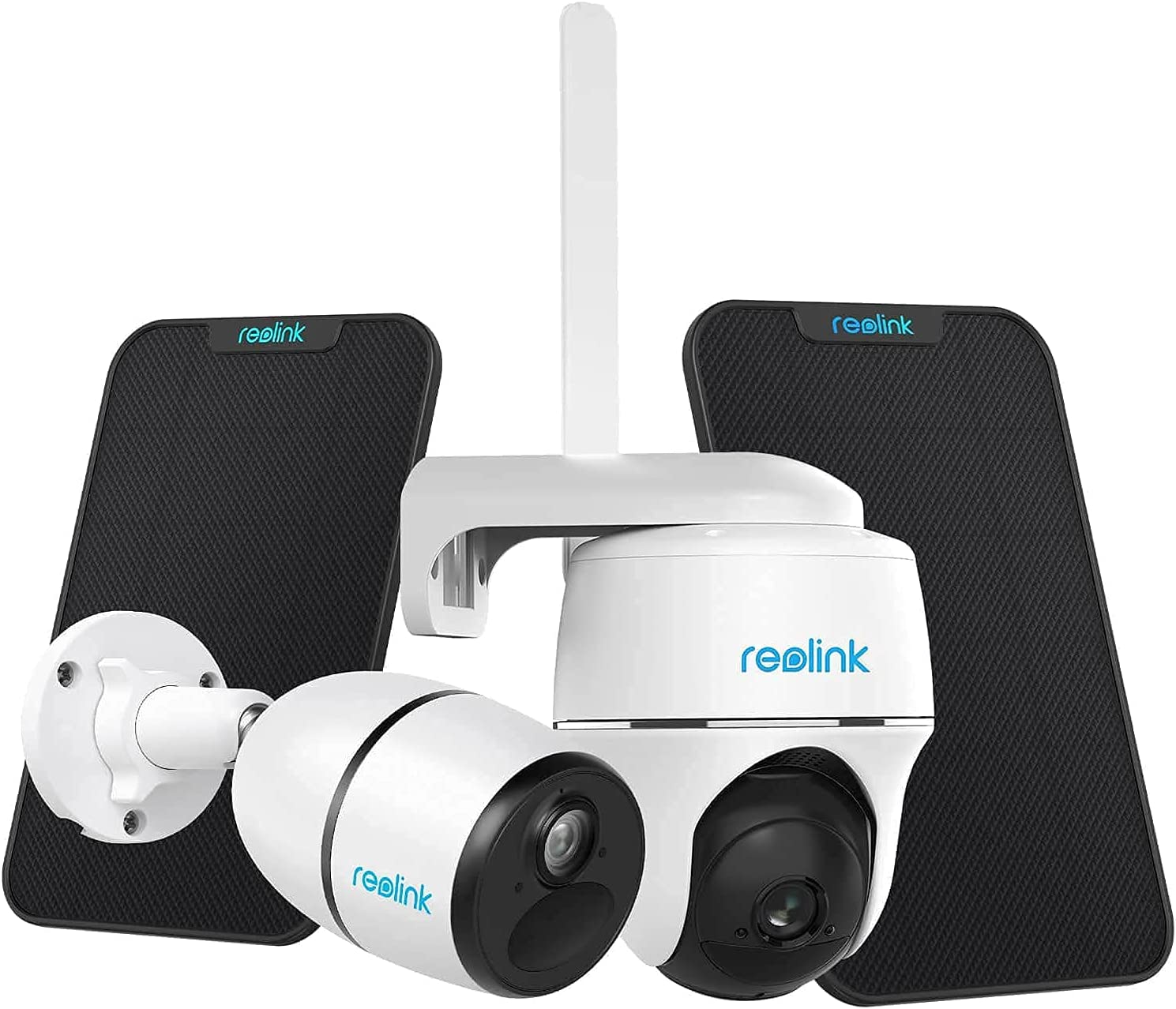 Reolink Argus PT with Solar Panel - Wireless Pan Tilt Solar Powered WiFi Security Camera System Bundle with 3G/4G LTE Reolink Go with Solar Panel