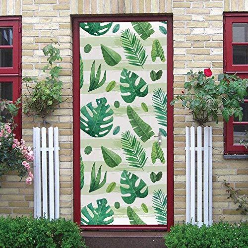 LuSeven vinilo puerta madera Pintado hojas verde moderno. 50x125cm pegatinas autoadhesivas de PVC, efecto 3D para decoración de puertas, arte de fotos, papel pintado Pegatinas De Puerta