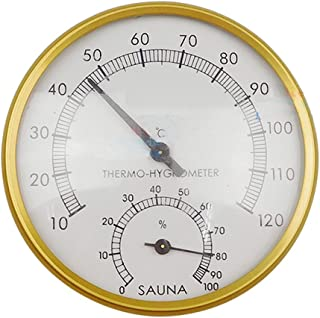 Thermo-hygromètre de 10,2cm pour sauna en métal doré