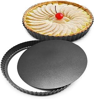 LSDD Bakeware 8 inch Nonstick & Quick Release Coating Loose Bottom Quiche Tart Pan, Tart Pie Pan, Round Tart Quiche Pan wi...
