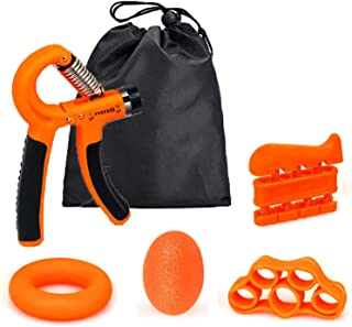 GEHARTY Hand Grip Strengthener Forearm Grip Workout Kit (5-in-1 pack) with Adjustable Resistance Hand Gripper 5-60 KG, Fin...