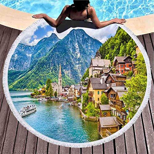 XZ-Sky Runder Strandtuch Decke Teppich Sommer, szenische Ansichtskarte Ansicht Berühmter Hallstattberg Yogamatte Picknickmatte Überwurfdecke 59 In