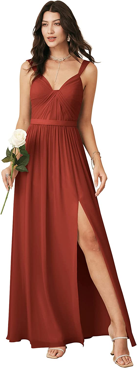 ALICEPUB V Neck Long Bridesmaid 即出荷 Dresses NEW ARRIVAL with Slit Women Chif for